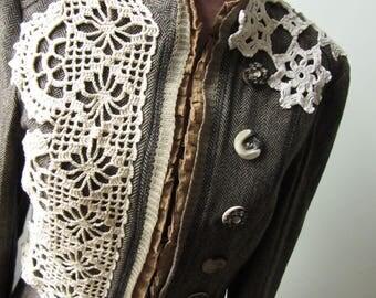 Brown Herringbone Jacket, Upcycled Blazer, Embellished Jacket, Womens Shabby Chic Clothing, Tweed Ruffle Jacket, Upcycled Recycled Clothing