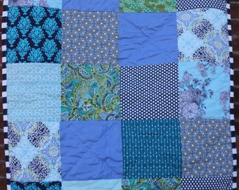 Handmade baby quilt boy girl blue turquoise