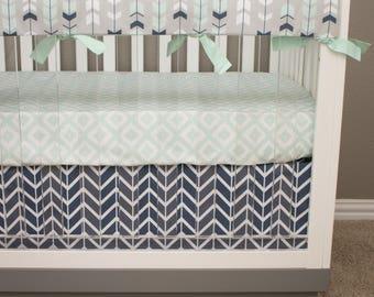 Tribal Crib Bedding, Baby Boy Mint Navy Nursery Bedding, Feather Arrows, Diamonds, Herringbone, Tribal Crib Sheet, Herringbone Crib Skirt