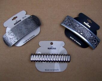 3 vintage 1980s metal hair barrette Karina hair accessory hair comb hair ornament hair slide hair clip (ABV)