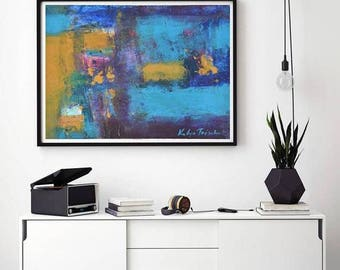 Blue Abstract painting, modern oil art, paper original one of a kind, small fine art contemporary oil painting home decor in blue and ochre