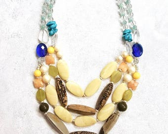 Chunky Real Stone Big Bead Colorful Necklace