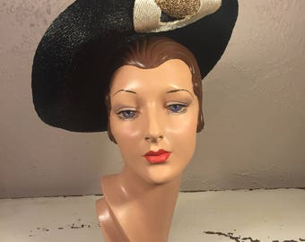 His Eyes Melted For Her - Vintage 1930s Black Cello Stand Up Wide Brim Hat w/Deco Crown