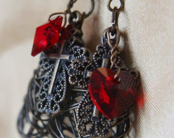 Set Free - oxidized brass and swarovski crystal earrings