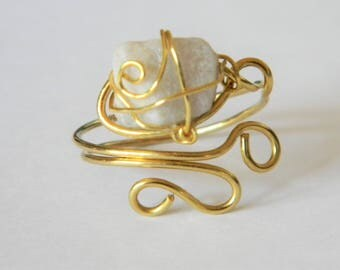Hand Crafted Gold Wire Ring with Wrapped White Stone