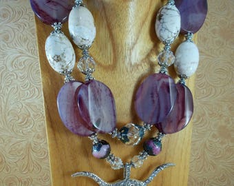 Western Cowgirl Necklace Set - Chunky White Howlite - Purple Agate - Crystal Texas Longhorn Pendant