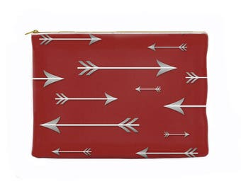 Red pencil pouch, arrows pencil case, toiletry bag, zippered pouch, cosmetic pouch, makeup bag, large cosmetic bag, makeup case