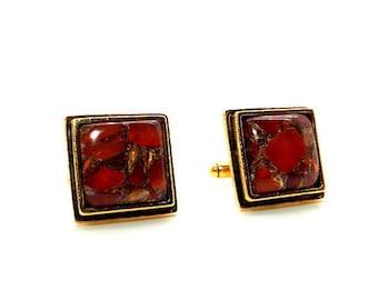 Red Fusion II Cufflinks - Red Carnelian Copper Mohave Cufflinks – Red and Copper Cufflinks – Red Square Cufflinks