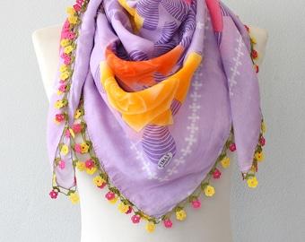 Turkish crochet lace scarf cotton yemeni scarf oya scarf Floral head wrap shoulder shawl summer scarf square head scarf
