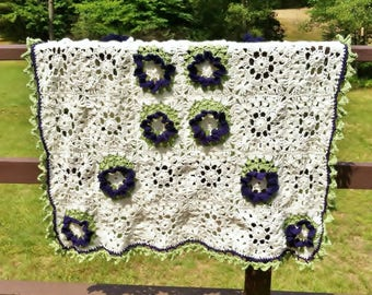 White Crochet Afghan Big Purple Flowers Leaf Border Handmade Throw  Floral Gift for Women, Cottage Throw Couch Blanket
