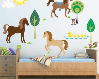 Horse Wall Decal, Girls Wall Decals FABRIC Decals Reusable Non-toxic NO PVCs A244