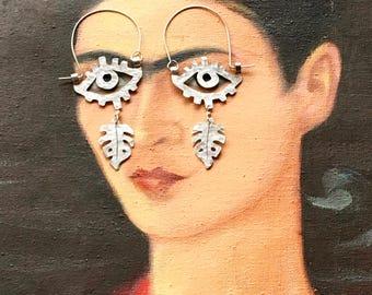 surreal eye and leaf earrings, monstera and eye hoop earrings, botanical earrings
