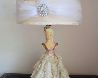 Art Deco Marie Antoinette Boudoir Tall figurine porcelain lamp with shade tule brooch 1950 Chalk Half Body