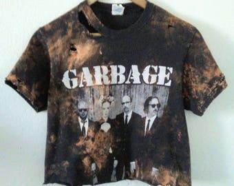Garbage TShirt / Crop Top / Half Tee / Belly Shirt / Band Tee / Graphic / Boho Rocker / Indie / Grunge / Rocker Tee / Distressed