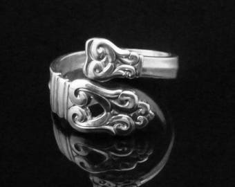 Decorative Sterling Silver Spoon Ring, Demitasse Spoon Ring, Royal Danish by International