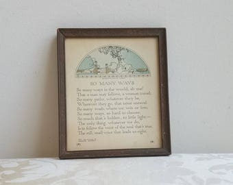 "Antique Motto Art Print Poem ""So Many Ways"" by Madison Cawein & P.F. Volland Co. 1918 in Embossed Wood Frame, Inspirational Ethics RARE"