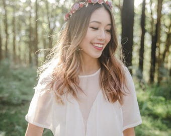 mauve red purple rose wedding flower crown // wedding flower crown / beach wedding flower hair wreath / festive floral headpiece