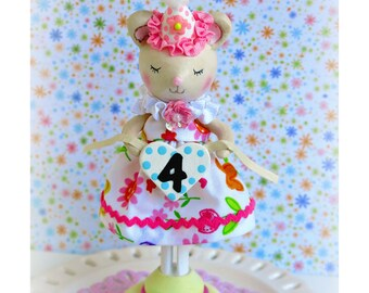 Mouse Cake Topper, Baby Mouse 2nd Birthday,  Cake Topper, Little Mouse Birthday Cake Topper, First Birthday Girl, Baby Shower, 4th Birthday