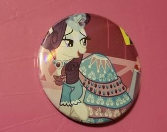 My Little Pony Rarity Gala dress 2.25 inch button