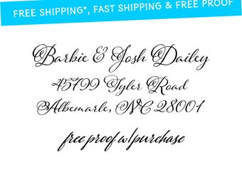 """Custom Return Address Stamp / Calligraphy Address Stamp Self-inking return address stamp or mounted with wooden handle.  2 1/2"""" x 1"""" (20389)"""