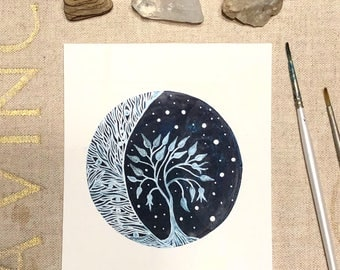 Celestial Watercolor // original painting // Luna and the Pomegranate Tree
