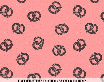 Toasty Pretzels Fabric by the Yard - Salty Brown Pretzels on Coral Pink Ditzy Print in Yard & Fat Quarter