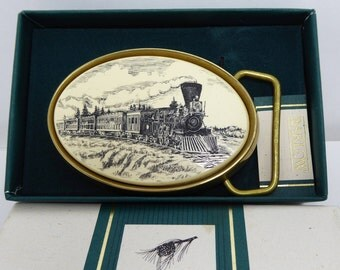 Barlow Faux Scrimshaw Train Belt Buckle - Inlaid Creamy White Lucite - Black Sketch of a Train - Solid Brass Buckle - Vintage 1980s Buckle