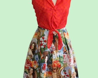 Julie Pleast skirt with Mexican Senorita print