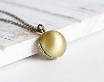Simple Round Brass Ball Locket Pendant Necklace on Antiqued Brass Chain