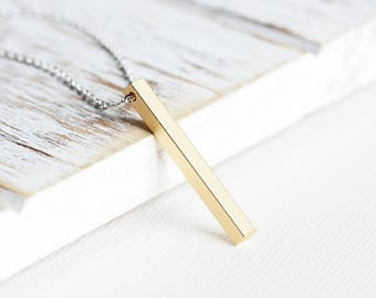 Vertical Bar Necklace, Matte Gold Plated Bar on Silver Plated Chain, Two Tone Necklace, Gold Pendant Neckace, Simple Jewelry