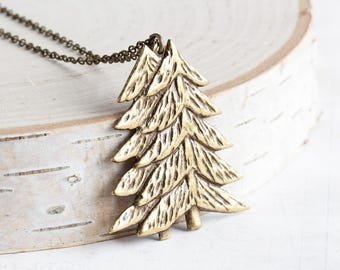 Pine Tree Necklace, Antiqued Brass Tree Pendant Necklace, Woodland Necklace, Rustic Winter Jewelry