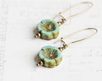 Light Blue Earrings, Earthy Flower Earrings on Antiqued Brass Wires, Sky Blue Dangle Earrings, Czech Glass Bead Earrings, Fashion Jewelry