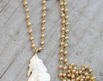 Long Gold Pearl Pendant Necklace, Long Beaded, Long Pendant, Gold Pendant, Gold Necklace, Gold Feather Pendant, Gold Leaf, Pearl Chain