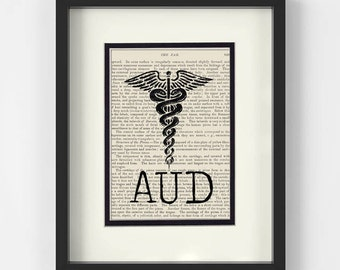 Audiologist Gift - AUD over Vintage Medical Book Page - Audiologists Graduation Gift, Gift for Audiologist, Audiologist Art