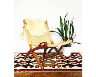 Mid Century Hans Wegner Style Folding Rope Chair / Lounge Chair