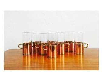 Vintage Irish Coffee Mugs with Copper Holders / Beucler Cobras / Set of 8