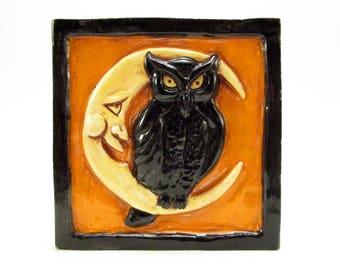 NIGHT OWL Ceramic Art Tile -  Halloween Colors, Orange and Black, 4 x 4 Handmade Ceramic Tile, Wall Art