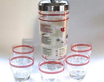 Vintage 1950s Mid Century Sports Cocktail Shaker and Glasses Set! Cute!