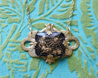 You're in My Web Now // Vintage 1940s German Spiderweb Cameo Necklace on Gold Gothic Macabre Witch Goddess Roses Spider Goth Noir Retro Deco