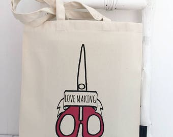 Love Making | Craft Bag | Craft Scissors | Funny Craft Bag | Gift For Crafters