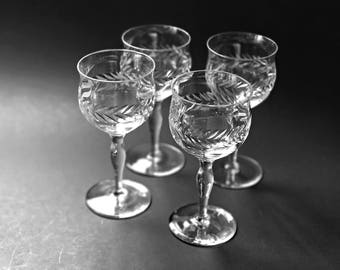 Vintage Crystal Wine Glasses 4 Cut Glass Wine Glasses Bryce Crystal Stemware