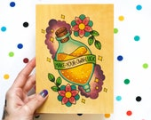 make your own luck / high quality art print on real wood / harry potter felix felicis magic potion gold paint
