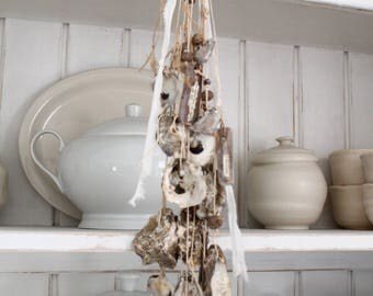SOLD, Mary M...OYSTER Shell, SEA Chime French Culinary, Shells, Sea Birds, Driftwood, Sea Glass Bottle, Jeanne d Arc Living
