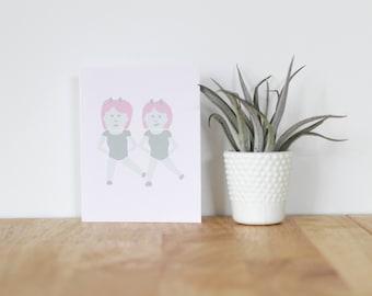 "handmade greeting card, ""emoji twins"" - are you my bestie, greeting, girlfriend, friend, best friend, handmade, handwritten, brush lettering"