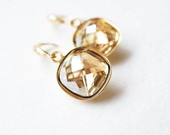 Earrings, Gold Earrings, Crystal Earrings, Dangle Earrings, Drop Earrings, Swarovski Earrings, Cushion Cut Earrings, Bridesmaid Earrings