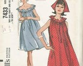 1960s Shift Drawstring Neck On or Off Shoulder & Scarf Easy to Sew McCall's 7433 Uncut FF Size Med Bust 32-34 Women's Vintage Sewing Pattern