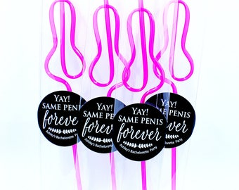 Penis party straws, Bachelorette Party, Party Favors, Same Penis Forever, Straw Favors, Gift,personalized, hot pink