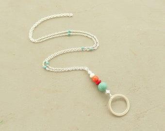 Turquoise Lanyard, Silver Necklace Lanyard, Silver Chain Lanyard Beaded, Turquoise Clip Lanyard, Fashion Lanyard, ID Badge Holder Silver