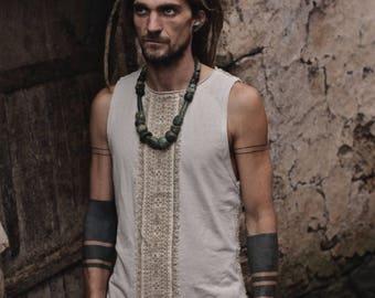 Organic hemp Men shirt with Tribal prints Natural eco friendly Earthy