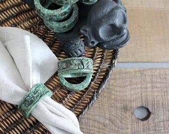 Vintage Pressed Malachite Stone Napkin Rings, Set Of Eight